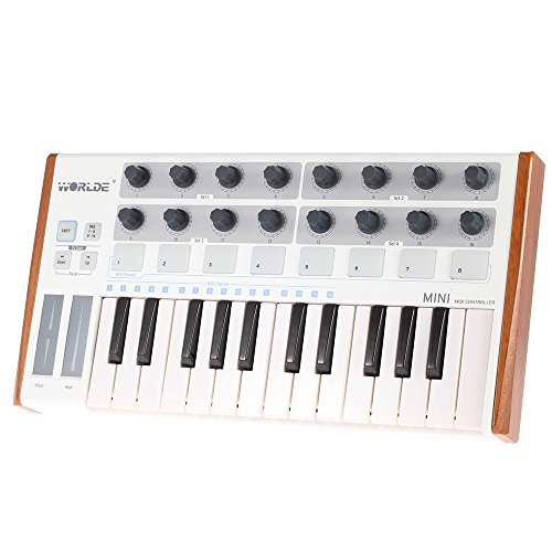ammoon Worlde Ultra-Portable Mini Professional 25-Key USB MIDI Drum Pad and Keyboard Controller