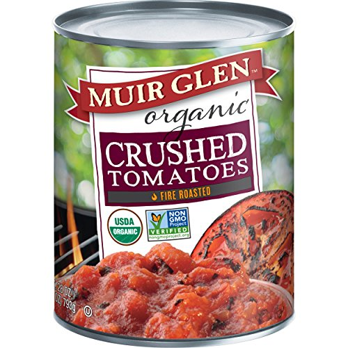 Muir Glen Canned Tomatoes, Organic Crushed Tomatoes, Fire Roasted, No Sugar Added, 28 Ounce Can (Pack of 12) - Fire Roasted Crushed Tomatoes