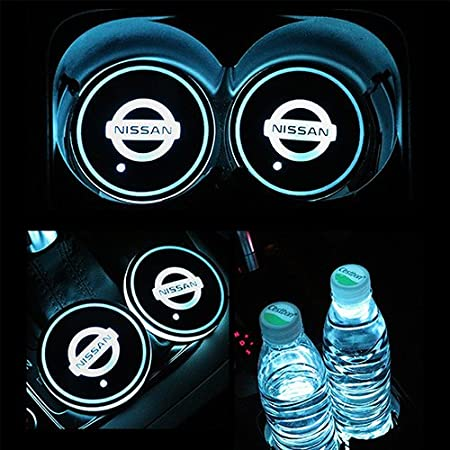 almohadilla de taza de carga USB para posavasos de bebida,decoraci/ón interior luz atmosf/érica 2 posavasos LED para coche con 7 colores luminiscentes ajuste B-MW Taotuo Portavasos de luces