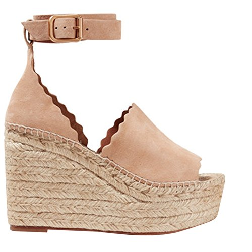 Syktkmx Womens Lace Up Platform Wedge Espadrille Heel Peep Toe Slingback D'Orsay Sandals (Wedge Slingback Toe Peep)