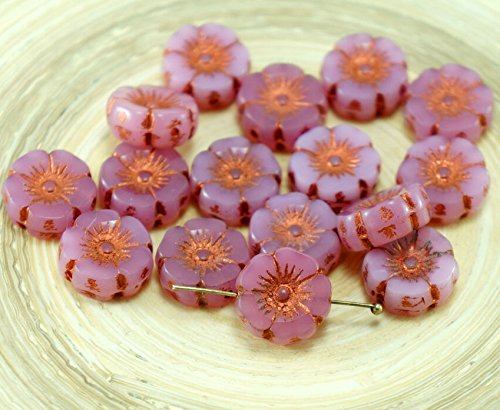 Carved Flower Beads - 6pcs Rustic Picasso Bronze Opal Valentine Pink Czech Glass Flat Carved Table Cut Hawaiian Flower Beads Coin 12mm