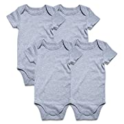 SOBOWO Gray 4-Pack Short Sleeve Bodysuits For Newborn Girls Boys 0-24M (0-3 Months)