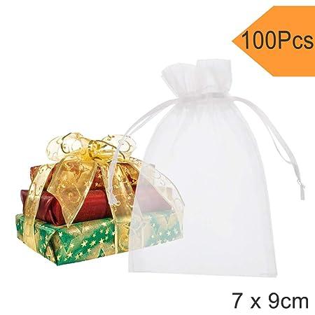 Fushing Bolsas de organza, 7 x 9 cm, 100 unidades, transparentes, para decoración y regalos