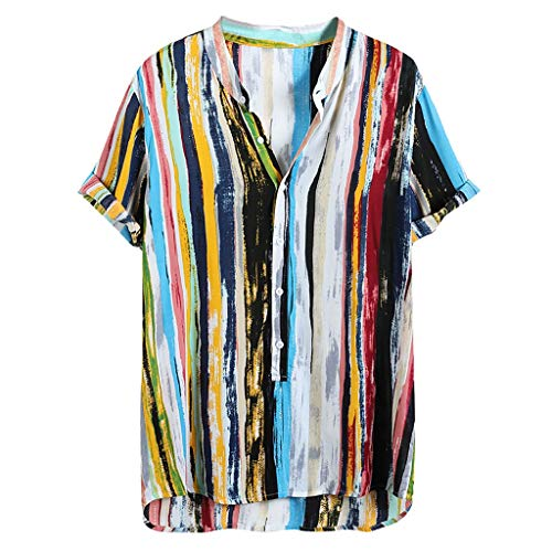 YKARITIANNA Mens Multi Color Lump Short Sleeve Round Hem Loose Shirts Blouse ()