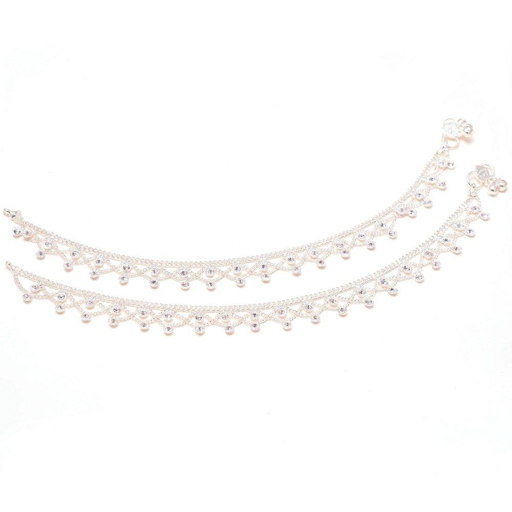Zewar Anklet Ad Cz Gemstones Silver Plated Finish Jewelry For Women & Girls 8027 LVxDNtHxzb