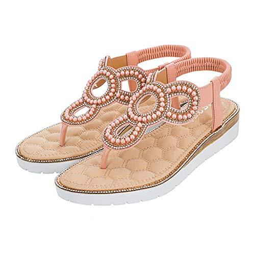 Womens Ladies Summer Beach Floral Sandals Elastic Strap Flat Shoes Flip Flop Sandals, Around Ankle Straps, Roman Sandal