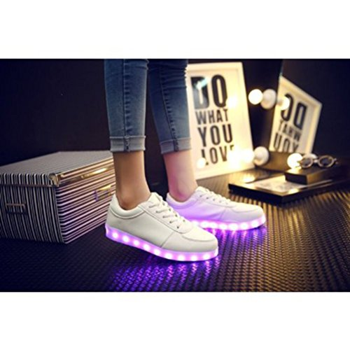 techo luces JUNGLEST® Presente Shoes 7 pequeña de de Cut hombre zapati color intermitentes de para Blanc Blanco carga toalla Low zapatillas deportes USB LED Light calzado ZZEfq6w