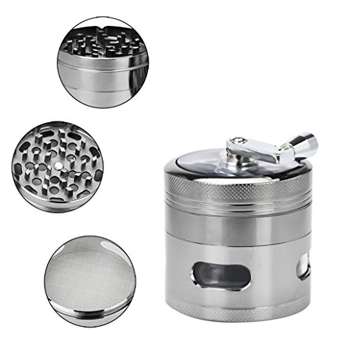 Tobacco Grinder Aluminum Herb Spice Crusher Muller Mill Hand Gray - 5