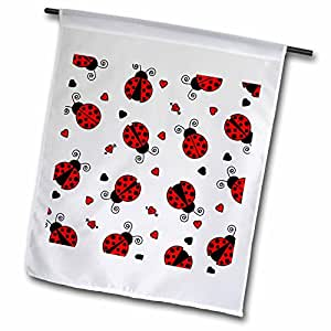 Janna Salak Designs Prints and Patterns - Love Bugs Red Ladybug Print with Hearts - 18 x 27 inch Garden Flag (fl_12100_2)