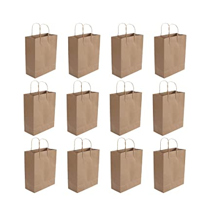 NUOBESTY Pequeñas bolsas de papel kraft con bolsas de asa ...