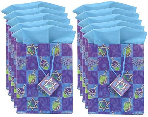 Iconikal Hanukkah Gift Bag Set, 10 Medium Bags, 10 Sheets of Tissue Paper
