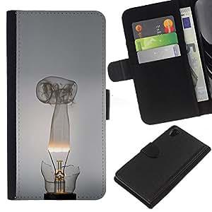 LECELL--Cuero de la tarjeta la carpeta del tirón Smartphone Slots Protección Holder For Sony Xperia Z2 D6502 -- Broken bombilla --