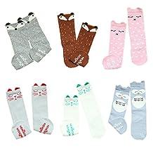 VWU 6 Pack Baby Cute Animal Knee High Socks Toddler Anti Slip Tube Socks 0-1/1-3Y