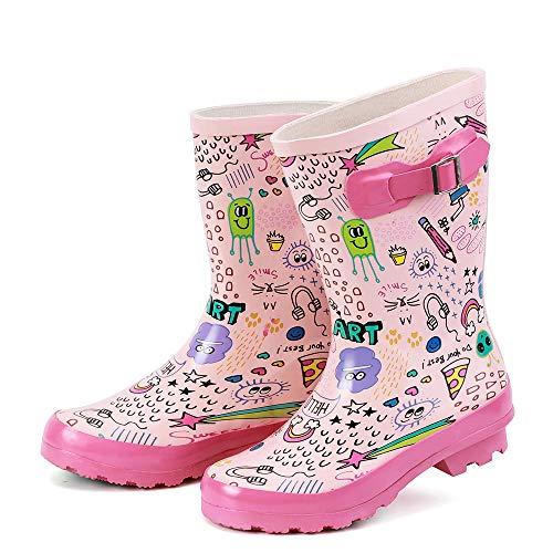 ALEADER Kids Waterproof Rubber Rain Boots for Girls, Boys & Toddlers with Fun Prints & Handles Pink/Printed 6 M US Big Kid