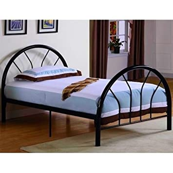 new metal twin size kid bed frame with headboard and footboard black
