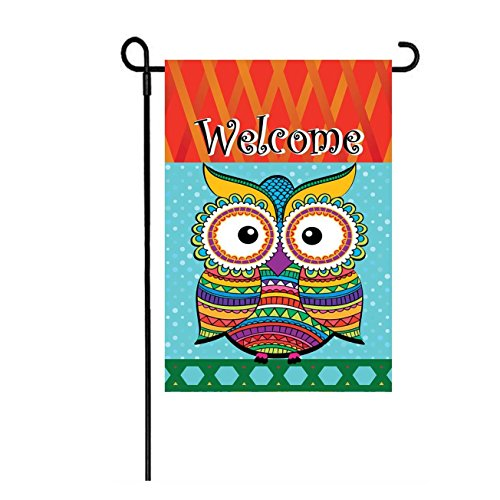 "Dtzzou Welcome Garden Flag 12"" x 18"" Owl Outdoor & Indoor De"