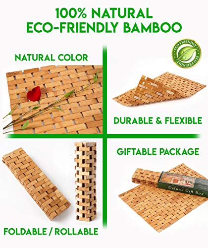 Natural Bamboo Wood Bath Mat: Wooden Door Mat/Kitchen Floor Rug - Bathroom Shower and Tub Mats - ENHANCED FLOOR-GRIPPING RUBBER PAD - Using an upgraded silicone rubber different from other brands, a real gripping pads to protect your flooring and provide you with a more stable footing MULTIPURPOSE USE, INDOOR / OUTDOOR - Place inside bathrooms or as an outdoor shower mat for a spa like feel or to make kitchens / laundry rooms more modern NATURAL BAMBOO WOOD - Lighter than teak wood and stronger than plastic or rubber, our solid bamboo wood mats have a longer lifespan, would not stain, sag or bend - bathroom-linens, bathroom, bath-mats - 51fF9aQa4QL -