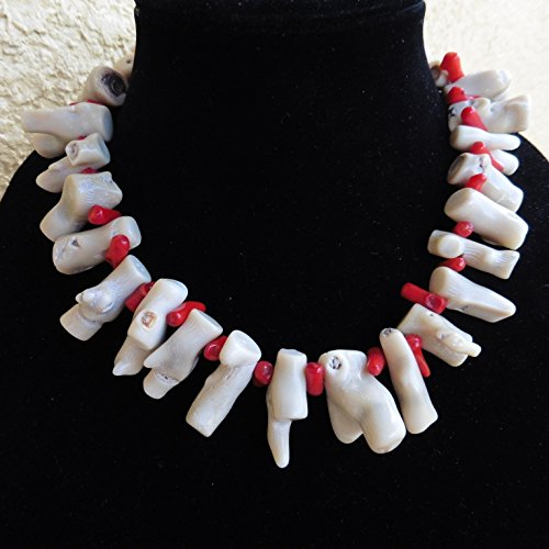 - Exotic Natural White Branch Coral Red Branch Coral Handmade Necklace Earrings One of a Kind