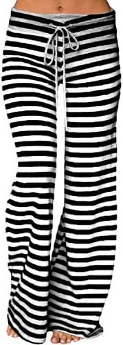 LOSRLY pantalón palazzo de yoga, de pierna ancha, cintura alta con cordón, a rayas, tamaño grande, para mujer