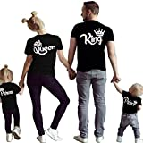 D-Sun Family Clothes Matching - King Queen Crown Short Sleeve Cotton T-Shirt Printed Funny Tops (US L = Asia 2XL, Black King)