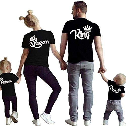 D-Sun Family Clothes Matching - King Queen Crown Short Sleeve Cotton T-Shirt Printed Funny Tops (US S = Asia L, Black Queen)