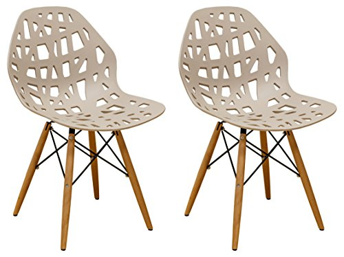 (Mod Made Modern Stencil Cut Out Eiffel Dining Side Chair (Set of 2), Taupe )