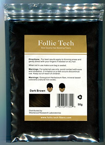 Follic Tech Hair Building Fibers Dark Brown 50 Grams Highest Grade Refill That You Can Use for Your Bottles from Competitors Like Toppik®, Xfusion®, Miracle Hair® by Follic Tech