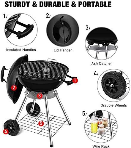 BEAU JARDIN Barbecue à Charbon de Bois 45 * 80cm Noir pour Pique-Nique Barbecue à Billes pour Charbon de Bois de Diamètre avec Bac à Cendres Amovible pour Barbecue Rond à Grille avec Surface de Gril