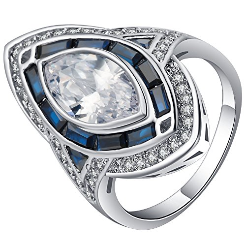 Jixin4you Women's Retro Plated Silver Oval Cut CZ Cocktail Party Ring Blue 7