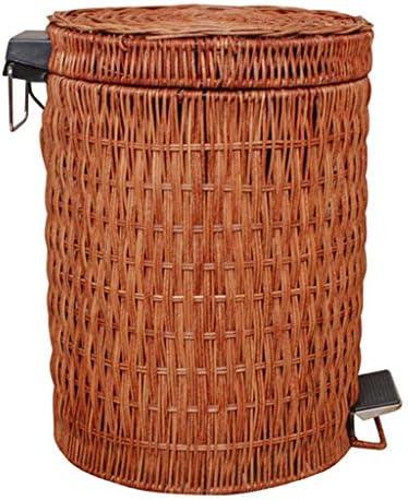 ゴミ袋 ゴミ箱用アクセサリ ファッションクリエイティブゴミ箱紙バスケットホーム収納バケツフットペダルラタン織り キッチンゴミ箱 (Color : Brown, サイズ : 12L)