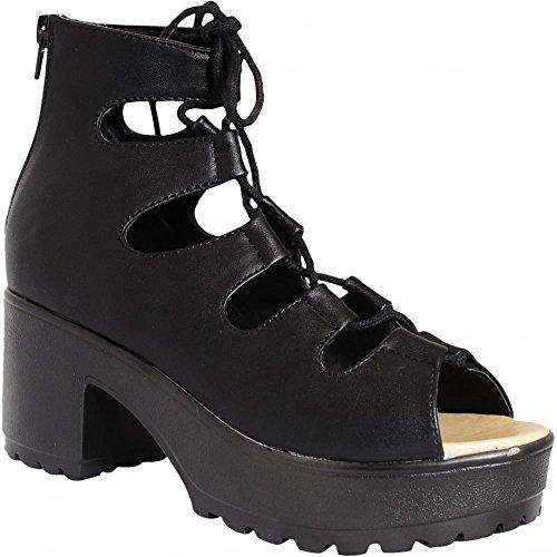 Ladies Nero Peep Toe Con Lacci Cut-out Blocco Tacco Spesso Sandali Scarpe UK8/EURO41/AUS9/USA10