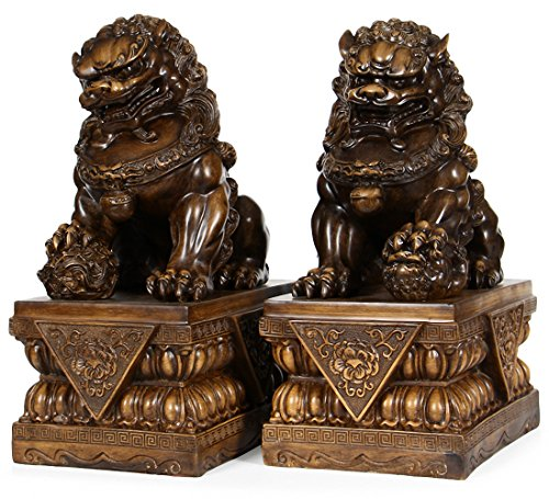 (Wenmily Large Size Wealth Porsperity Pair of Fu Foo Dogs Guardian Lion Statues,Best Housewarming Congratulatory Gift to Ward Off Evil Energy,Feng Shui Decor (17.6Hx11.5Lx8W Each))