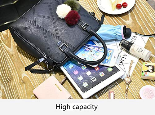 Plein Capacité Main Dames Fourrure En Grande Air Pu Sac Black Rrock Boule Crossbody Shopping Pour Accessoires À Mode De HI6naA