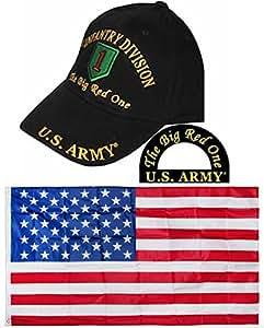 U.S. Army 1st primera división de infantería The Big Red One negro bordado sombrero y banderas de la bandera de Estados Unidos 3x 5Super poliéster bandera de Nylon 3'x5' casa Banner ojales doble cosido Premium calidad