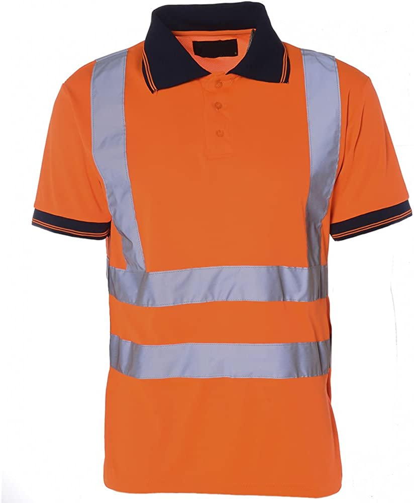 Hi Viz para Hombre Cuello de Polo Camiseta de Manga Corta Trabajo ...