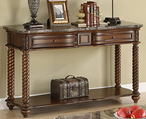 Benzara BM179868 Wooden Sofa Table with Marble Tabletop, Brown