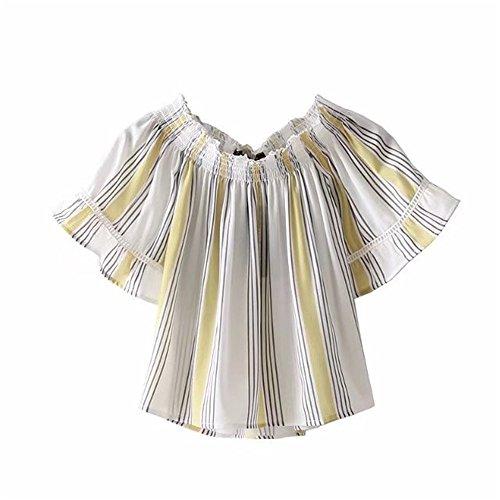 Corta T Amarillo Breve Elegante Xmy Rayas Delgado Versátil Párrafo Cobertura shirt La Manga Y Palabra Encubrir Camisa Collar De Z6wUwqx5n