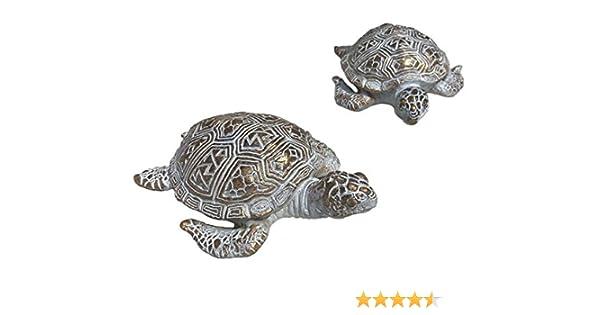 Home Collection Set de 2 Tortugas Surtidas en Blanco y Dorado de 13 cm y Resina Sintética Figura Decorativa Decoracion Hogar Jardín Figuras Animales: Amazon.es: Jardín