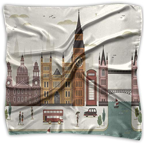 Bandana Head and Neck Tie Neckerchief,Attractive Travel Scenery In Famous City England Big Ben Telephone Booth Westminster Theme]()