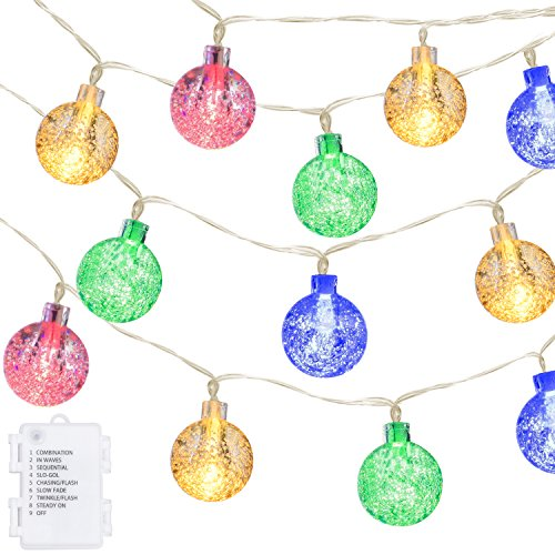Ball String Lights,Oak Leaf 20ft 30 LED Waterproof LED Fairy String Globe Lights for Garden,Outdoor,Indoor,Party,Patio,Bedroom,Battery Operated,8 Modes,Multiple (Patio Party String)