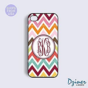 Monogram Case Cover For Apple Iphone 6 Plus 5.5 Inch model - Multi Color Chevron Cute