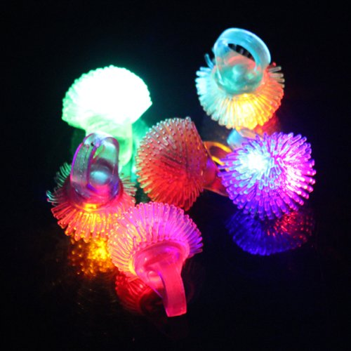 (HQ) LED Color Change Flashing Jelly Soft Ring Wedding Halloween -