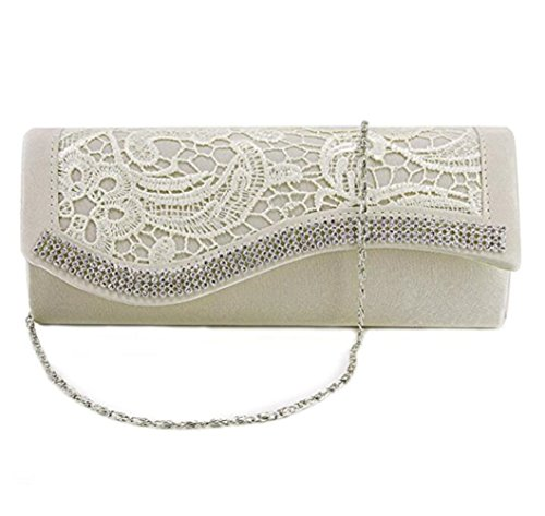 de satén de superpuesto bolso mano novia bolso champán bolso noche para ganchillo diamante asir lazo Mujer wgqYxO8O