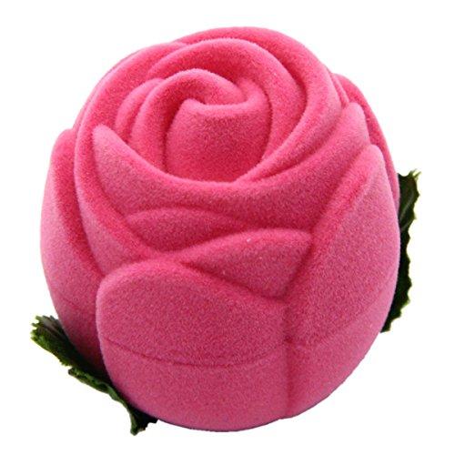 Mochiglory Rose Ring Box Valentine's Day Wedding Birthday Engagement Jewelry Storage Gift Box -