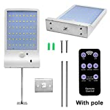 48 LED Solar Motion Sensor Lights Outdoor with Remote Controller - Solar Lights, Adjustable 7 Color IP65 Solar Power PIR Exterior Security Wall Light for Patio, Deck, Yard, Garden (White-with Pole)