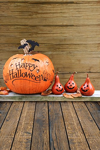 Happy Halloween 5X7FT Laeacco Vinyl Thin Photography Backdrop Girmace Pumpkin Face Wood Wall Floor Background Personal Portraits Photo Studio Props 1.5x2.2M]()