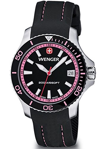 Wenger Sea Force Swiss Made Women's Analog Watch Black Silicone Strap 01.0621.108