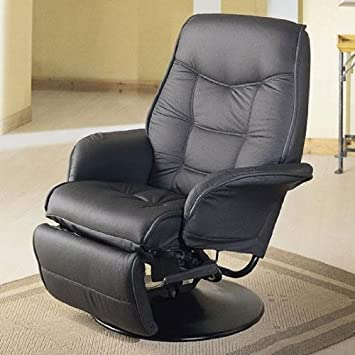 Amazing Contemporary Style Swivel Easy Reclining Chair With Round Metal Base In  Black Leatherette Upholstery. (