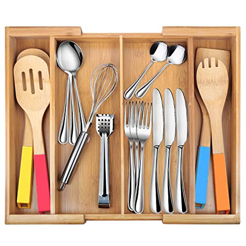 Drawer Dividers silverware tray Expandable Utensil Cutlery Tray Bamboo Wooden Adjustable 4 Compartments Flatware Organizer Kitchen Storage Holder for Knives Forks Spoons Accessories Gadgets -