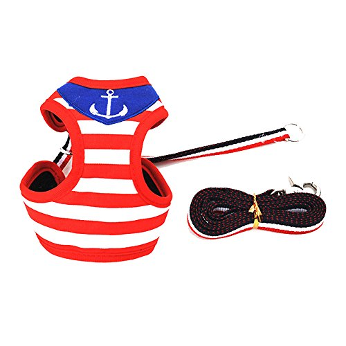 Okvis Pet Dog Navy stripes Small And Medium Dog Collar Traction Rope Pet Vest-style Traction Rope